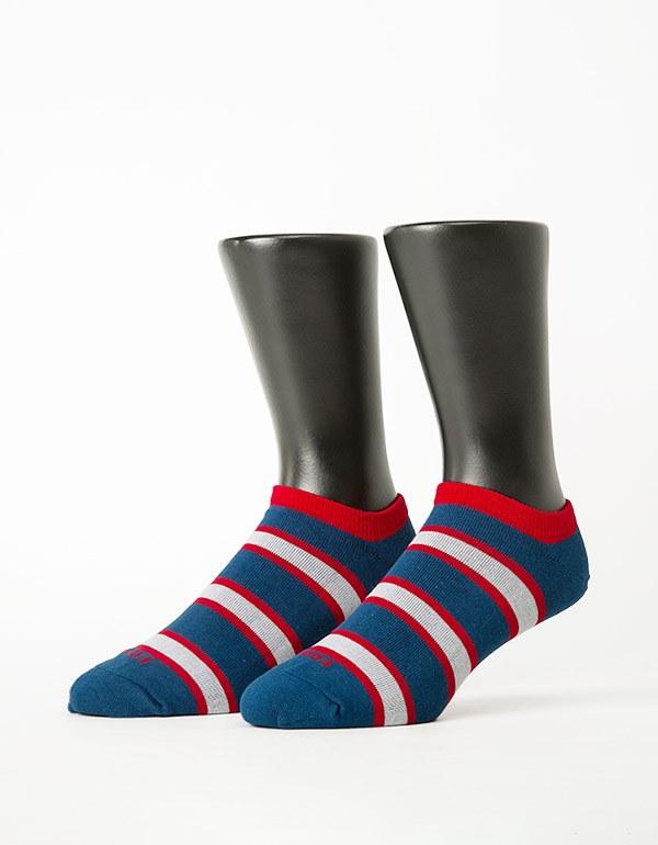 雙色條紋船短襪