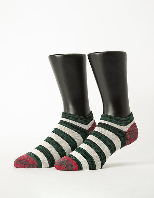混搭條紋船短襪